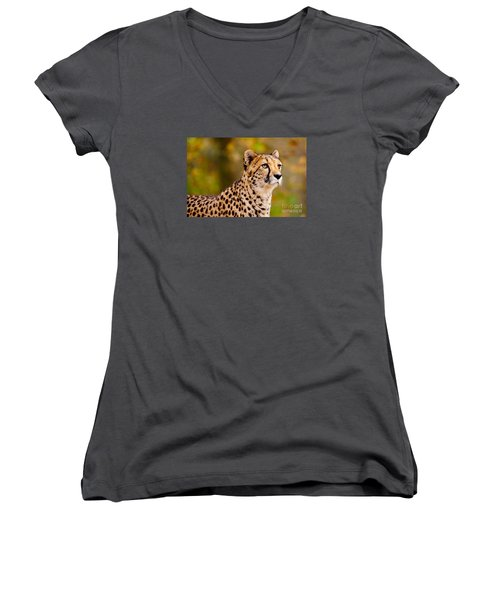 Cheetah In A Forest Women's V-Neck