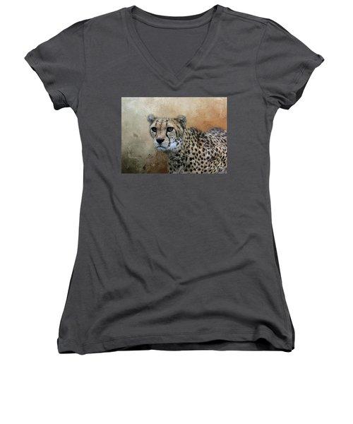 Cheetah Portrait Women's V-Neck T-Shirt (Junior Cut) by Eva Lechner