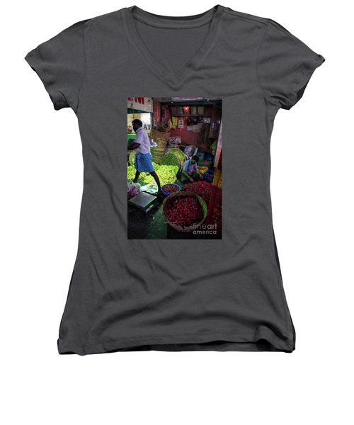 Women's V-Neck T-Shirt (Junior Cut) featuring the photograph Chennai Flower Market Busy Morning by Mike Reid