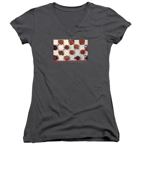 Chequer Board Women's V-Neck T-Shirt