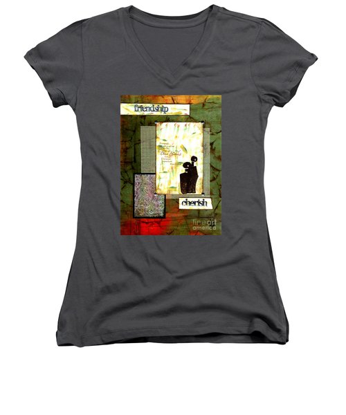 Cherished Friends Women's V-Neck T-Shirt (Junior Cut) by Angela L Walker