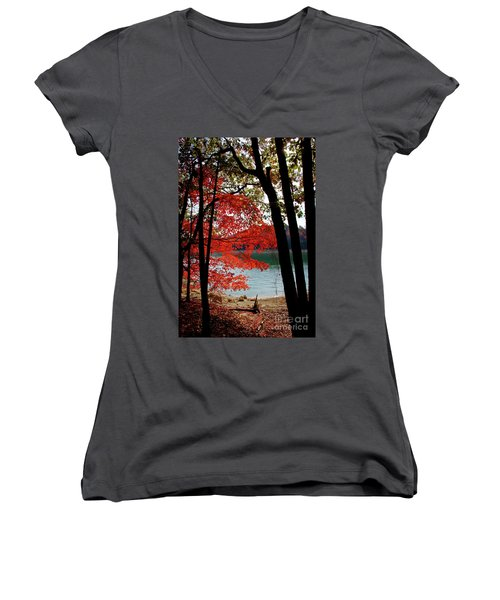 Women's V-Neck T-Shirt (Junior Cut) featuring the photograph Cherokee Lake Color by Douglas Stucky