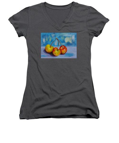 Cherries Trio Women's V-Neck T-Shirt (Junior Cut) by Janet Garcia