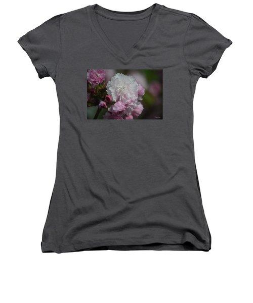 Cherry Blossom 2 Women's V-Neck (Athletic Fit)