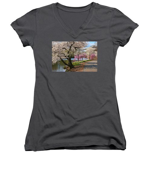 Cherry Blossom Trees Of Branch Brook Park 17 Women's V-Neck