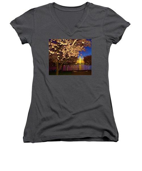 Cherry Blossom Washington Monument Women's V-Neck