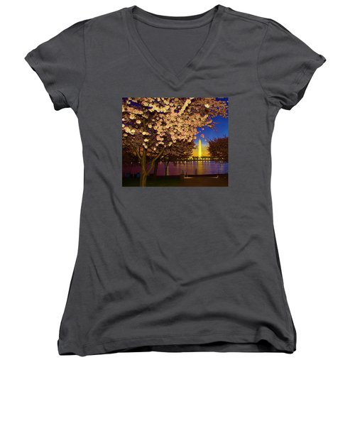 Cherry Blossom Washington Monument Women's V-Neck (Athletic Fit)