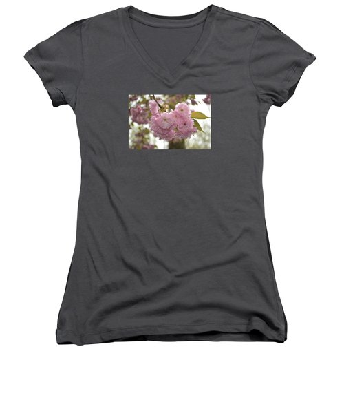 Women's V-Neck T-Shirt (Junior Cut) featuring the photograph Cherry Blossoms by Linda Geiger