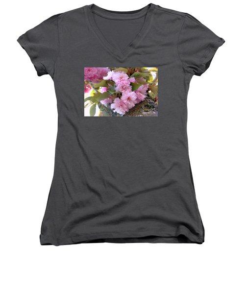 Cherry Blossoms Nbr2 Women's V-Neck T-Shirt (Junior Cut) by Scott Cameron