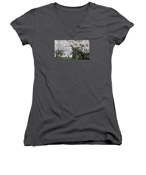 Cherry Blossoms Washington Dc Women's V-Neck T-Shirt (Junior Cut) by Steve Archbold