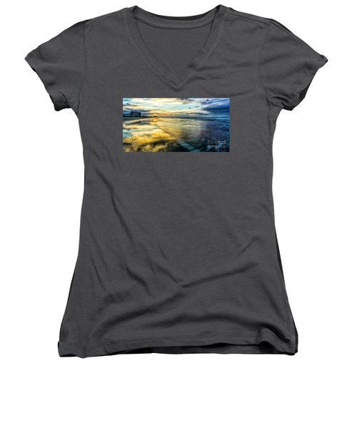 Cherry Grove Golden Shimmer Women's V-Neck T-Shirt (Junior Cut) by David Smith