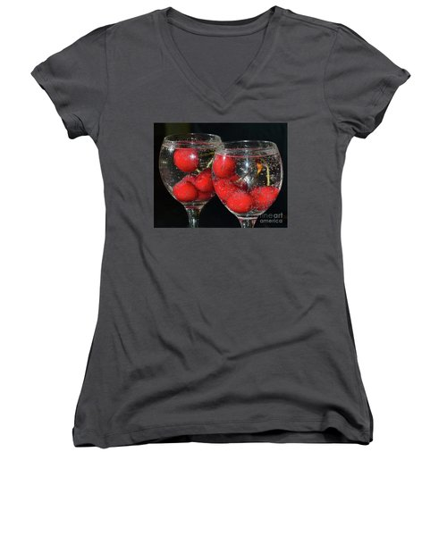 Women's V-Neck T-Shirt (Junior Cut) featuring the photograph Cherry In Glass by Elvira Ladocki