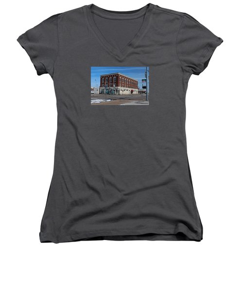 Women's V-Neck T-Shirt (Junior Cut) featuring the photograph Cherry Street Mission In Winter by Michiale Schneider