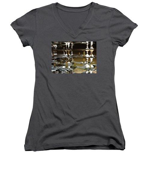 Chess Anyone Women's V-Neck T-Shirt (Junior Cut) by Melissa Messick