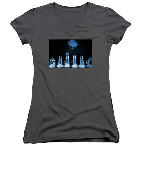 Women's V-Neck T-Shirt (Junior Cut) featuring the photograph Chess Game And Human Brain by Christian Lagereek