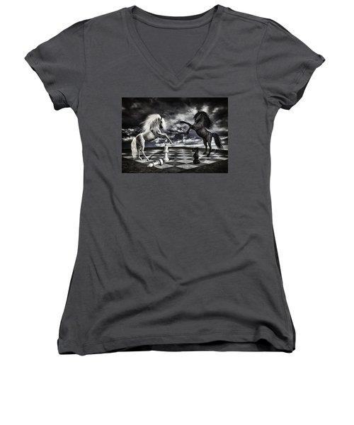 Chess Players Women's V-Neck T-Shirt (Junior Cut) by Mihaela Pater