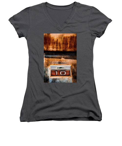 Chevy C10 Rusted Emblem Women's V-Neck