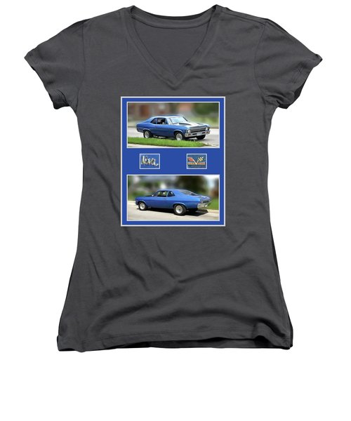 Chevy Nova Vertical  Women's V-Neck (Athletic Fit)