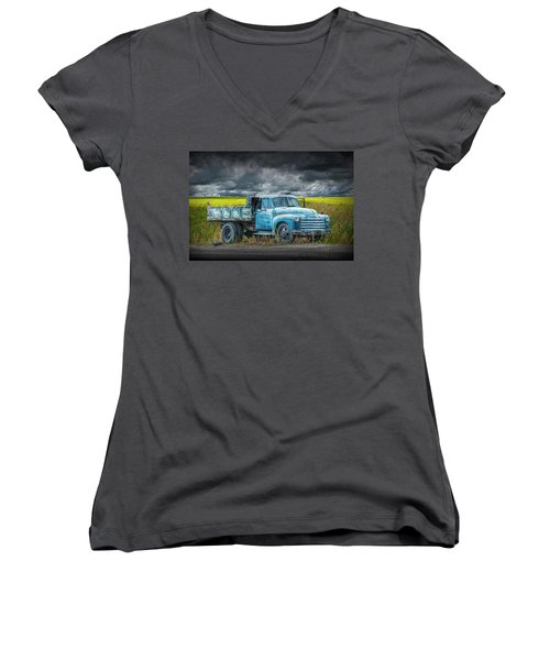 Chevy Truck Stranded By The Side Of The Road Women's V-Neck