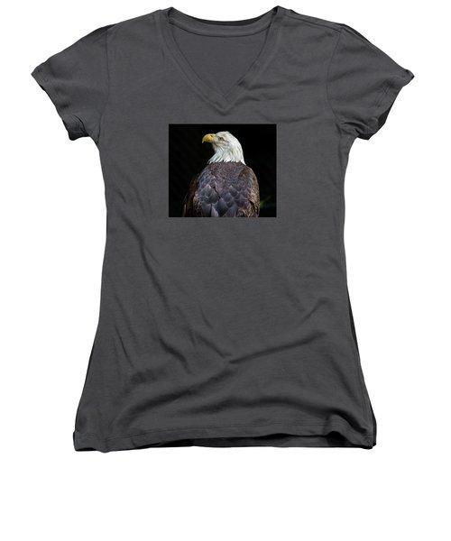 Cheyenne The Eagle Women's V-Neck T-Shirt (Junior Cut) by Greg Nyquist