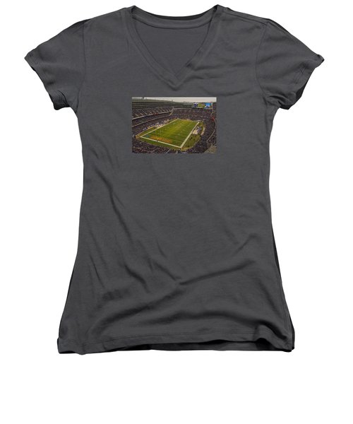 Chicago Bears Soldier Field 7795 Women's V-Neck T-Shirt (Junior Cut) by David Haskett