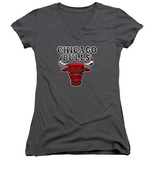 Chicago Bulls - 3 D Badge Over Flag Women's V-Neck T-Shirt