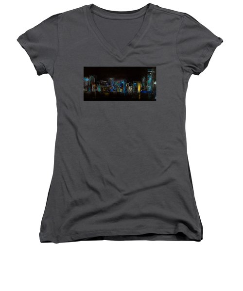 Chicago City Scene Women's V-Neck T-Shirt (Junior Cut) by Michele Carter
