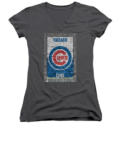Chicago Cubs Brick Wall Women's V-Neck (Athletic Fit)