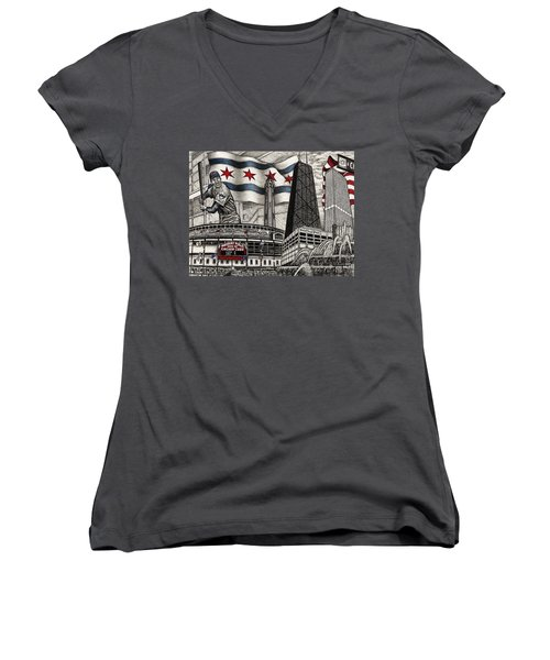 Chicago Cubs, Ernie Banks, Wrigley Field Women's V-Neck (Athletic Fit)