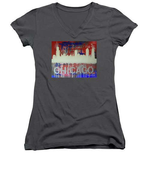 Chicago Drip Women's V-Neck T-Shirt (Junior Cut) by Melissa Goodrich