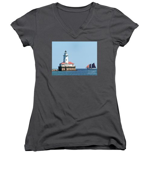 Chicago Harbor Lighthouse And A Tall Ship Women's V-Neck