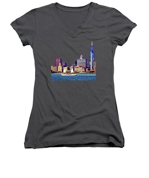 Chicago Il - Schooner Against Chicago Skyline Women's V-Neck T-Shirt