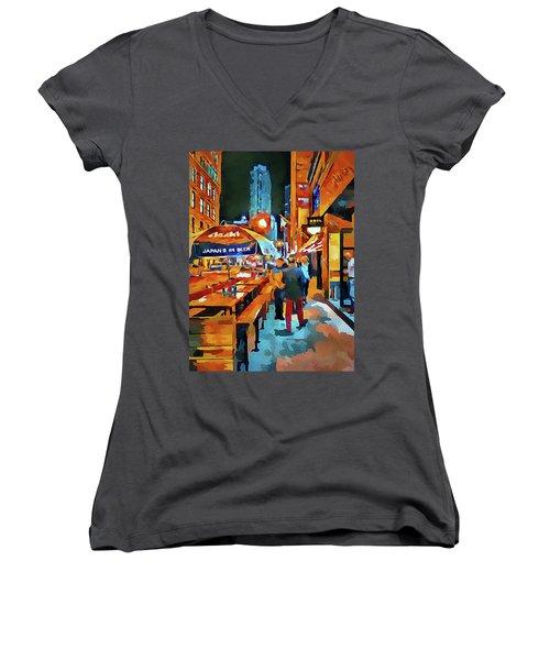 Chicago Night Time Women's V-Neck T-Shirt