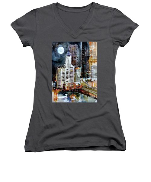 Chicago Night Wrigley Building Art Women's V-Neck
