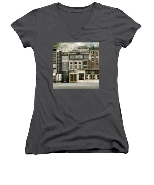 Chicago Reconstruction 2 Women's V-Neck T-Shirt (Junior Cut) by Joan Ladendorf