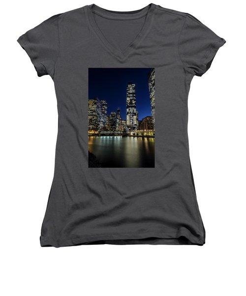 Chicago River And Skyline At Dusk  Women's V-Neck