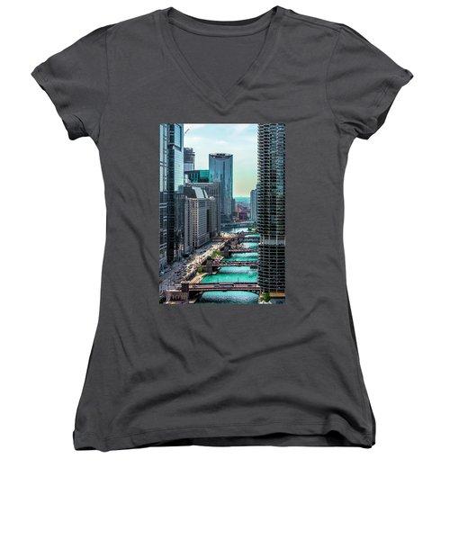 Chicago River From Londonhouse Chicago Dsc2290 Women's V-Neck T-Shirt