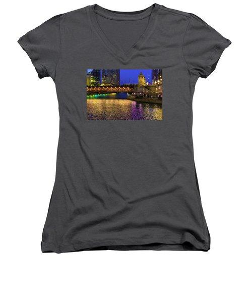 Chicago River Ver2 Women's V-Neck (Athletic Fit)