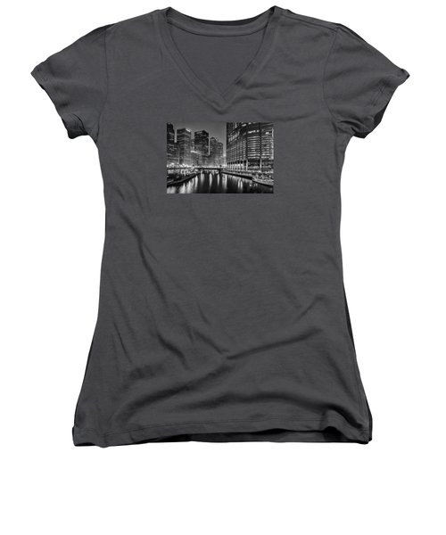 Chicago River View At Night Women's V-Neck T-Shirt (Junior Cut) by Andrew Soundarajan
