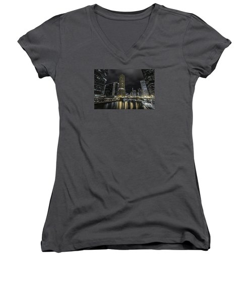 Women's V-Neck T-Shirt (Junior Cut) featuring the photograph Chicago Riverfront Skyline At Night by Keith Kapple