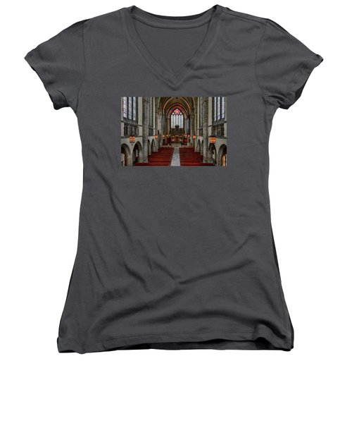 Chicago Rockefeller Chapel Women's V-Neck T-Shirt (Junior Cut) by Mike Burgquist