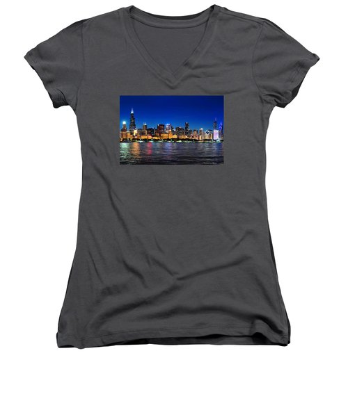 Chicago Shorline At Night Women's V-Neck T-Shirt