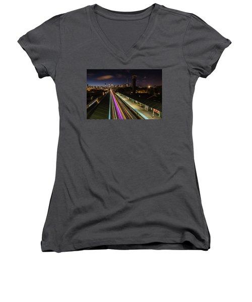 Chicago Skyline And Train Lights Women's V-Neck