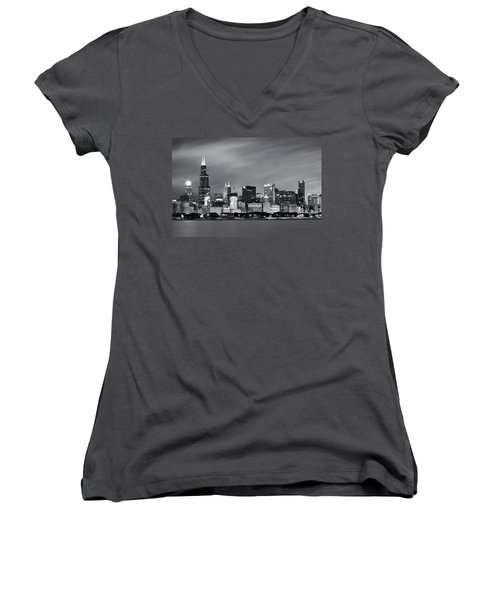 Women's V-Neck T-Shirt featuring the photograph Chicago Skyline At Night Black And White  by Adam Romanowicz