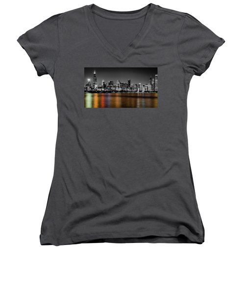 Chicago Skyline - Black And White With Color Reflection Women's V-Neck (Athletic Fit)