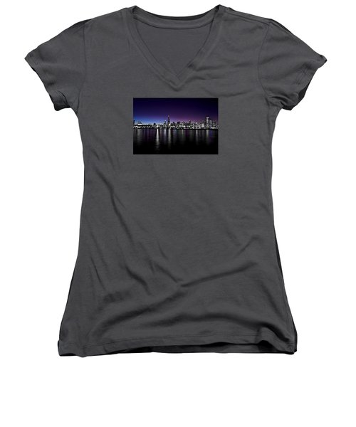 Women's V-Neck T-Shirt (Junior Cut) featuring the photograph Chicago Skyline Bnw With Blue-purple by Richard Zentner