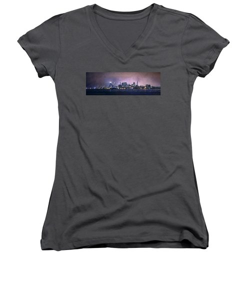 Chicago Skyline From Evanston Women's V-Neck T-Shirt (Junior Cut) by Scott Norris