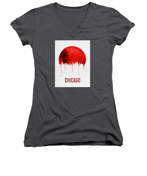 Chicago Skyline Red Women's V-Neck T-Shirt (Junior Cut) by Naxart Studio