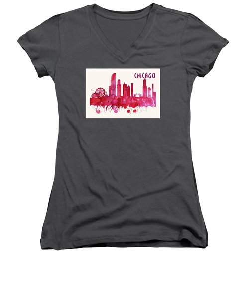 Chicago Skyline Watercolor Poster - Cityscape Painting Artwork Women's V-Neck T-Shirt
