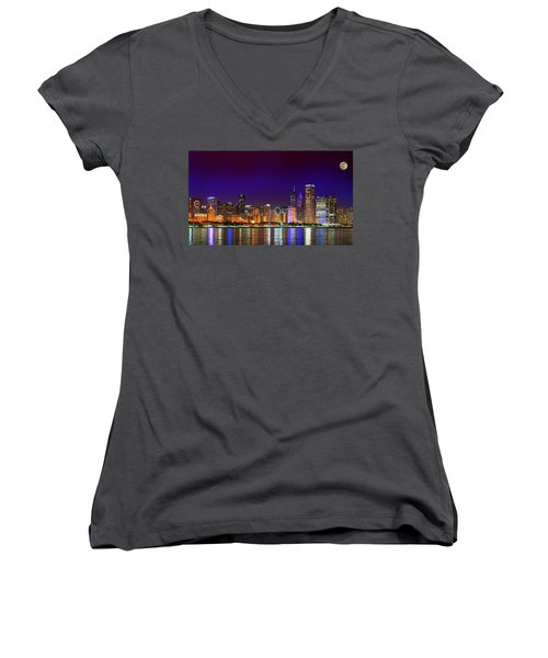 Chicago Skyline With Cubs World Series Lights Night, Moonrise, Lake Michigan, Chicago, Illinois Women's V-Neck T-Shirt